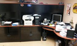 LARGE BLACK WOOD OFFICE DESK 8 CUPBOARDS ON TOP 9 MEDIUM SIZE DRAWERS ON BOTTOM 3 LARGE FILE LIKE DRAWERS ON BOTTOM CALL FOR MORE INFO $800 - O.B.O