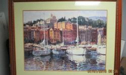 """Large framed picture of boat marina Measures: 42.5"""" w x 34.5"""" l Will meet anywhere in west end (Kanata, Bells Corners, Stittsville) Paid $200 for it so price is firm at $25"""