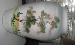 This is a very nice large vase.  There is a country home design painted on the body of this vase. It measures 18 inches in height x 8 inches across the rim of the vase.  The middle of the vase measures 10 1/2 inches.