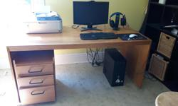 "Large desk with drawer unit. Desk wide enough to hold two computers side by side. Has cord holder at the back to keep wires and cords neatly out of the way. 63"" wide � 29.5"" deep � 28.25"" high, or higher if you put it on wooden blocks. Drawer unit has 3"