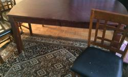 Four chair large table getting rid of it because I bought a new table. Brown in colour