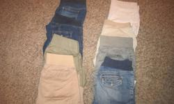 I am selling a large lot of maternity clothes that are in great condition. All items are from either Gap, Old Navy, Motherhood and Thyme Maternity - mostly, size M and Lrg. There are 39 items of clothes including two dresses that were only worn once and