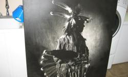 Large North American Native Indian Print 48 inches x 56 inches . Excellent condition and impressive graphics.