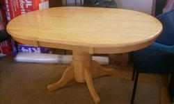 """LARGE OVAL PEDESTAL TABLE. Some scratches here and there. One of the legs has dog bites /pic.2/. Dimensions: H= 30 1/4"""" W= 60"""" D= 42 $120 CALL ANYTIME: (905) 382-6428 ELIZA Check out my other ads!!!"""