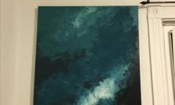 """Acrylic painting artwork Toronto artist large painting Size 48"""" / 34"""" (about 2.5 feet x 4 feet) Texture / abstract sky scape"""