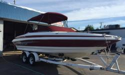 Bow Rider 24 Feet in Length 5.7 Volvo EFI Engine Dual Stainless Steel Propellor Snap in carpet Bimini Top Tonneau Cover Stand up Head Sink Transom Shower Tilt Steering Dual Batteries with Minn Kota on Board Battery Charger European Seating with Table Bow