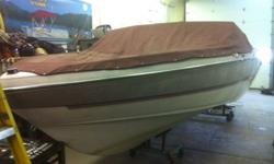 This boat has no engine, drive, of transom. Great project boat, we do have available engines for sale that would suit this boat well. This ad was posted with the Kijiji Classifieds app.