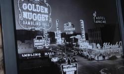 "Cool black and white vintage photo of the golden days in Las Vegas. Framed sized 17"" x 131/2"""