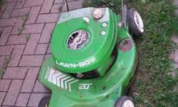 "Lawn Boy 20"" Gas powered lawnmower. Asking $75. It uses mixed gas and still works well."