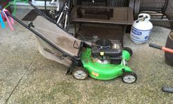 Lawn boy lawn mower. Gas powered with 20 inch deck. Maintenance done regularly. Works great I just don't have to mow anymore!