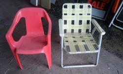 TWO CHILDRENS LAWN CHAIRS, ONE FOLDING AND ONE SOLID. $5