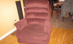 for sale lazy boy recliner wine colour withlight brown and blue specks about 5 years old great shape best offer changing house colours