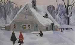 Le Moulin des Jesuites Oil on Board. This is a lovely painting of a turn of the century winter scene in front of an historic mill in Quebec. The colours are vibrant and the figures have a naif folk art charm. The painting is signed and framed with a small