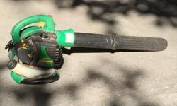 Weed Eater 25cc Leaf Blower * Professional blower nozzle for better performance * Suitcase style prevents wrist fatigue * 25cc engine * 430 cfm airflow volume 3-4 years old. Worked very well until a few days ago. Needs a tune up because the engine does