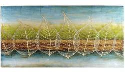 """Diaphanous leaves stand perched against a backdrop of soft earthtones in this soothing hand-painted canvas. Like Nature, only better. * Blue/multicolor * 60""""W x 30""""H * Cotton canvas, fir wood, paint * Hand-painted - the actual ad from Pier 1 excellent"""
