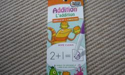 Learn Addition Wipe-Clean Books are a fun way for kids to practice essential learning skills in both English and French! Do, Learn, Wipe, Repeat! Designed for use with water-based markers and crayons, kids can practice again and again until they have a