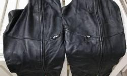 Power Trip all-leather motorcycle chaps. Like new, only worn a few times. Vents and pockets. Size Large.