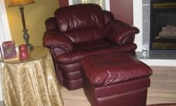 For Sale Burgundy Leather Couch, Chair and Ottoman.  3 years old.  $1,200. Also 7 Foot Round Burgundy & Gold Carpet and Hall Runner to match - cost $300 for both.  Sample pictures attached