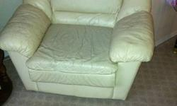 WHITE LEATHER COUCH AND SINGLE CHAIR   some wear and tear, but it's other wise comfortable and great furniture! The reason why i'm selling is because I am moving into a condo and these couches are not needed as I reduced my living space! I hate to part