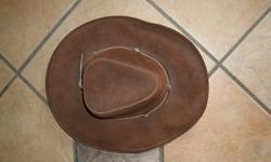 Leather Hat  made in Canada medium