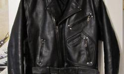 Leather Riding Jacket. Thick leather. Fits Large. $60.00 obo contact scott text or e-mail 892-4019