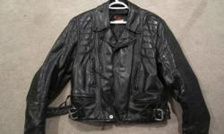 Leather Riding Jacket. broken in. no cracks in leather well maintained. kidney and elbow padding. MED fit/tall. $60. Contact Scott, email or text. 892 - 4019.
