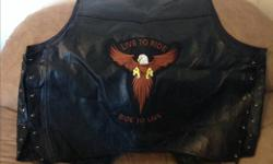 Hello I have an awesome leather vest for sale it's a 4x brand new with leather lacing on side to make looser or tighter I am asking 100.00 or best offer I am located in borden