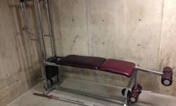 Leg extension / calf raise , has been unbolted to two pieces for easier move, 75 kg or 165 lbs. $50