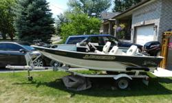 Includes boat trailer and 30 hp Mercury motor, trolling motor at front of boat, fish finder and comfortable seating. In excellent condition, only used a few times. Please contact Odon or Julia at (705) 434-4437 $11000 OBO
