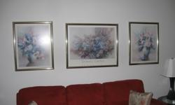 """Three professionally framed prints in gold frames. Larger is 28"""" by 34"""" high. Smaller pair are 29 by 23"""" high. Non smoking home."""