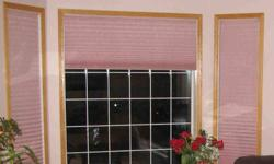 """Excellent Condition. The following curtians are included: 1. 2 petal pink curtains Width = 18 1/8"""" Length = 69 1/4"""" 2. 1 petal pink curtain Width = 57 7/8"""" Length = 28 1/8"""" 3. 1 petal pink curtain Width = 45 7/8"""" Length = 57 3/4"""" 4. 1 petal pink curtain"""