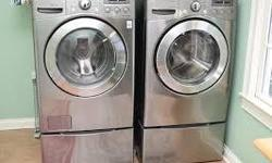 Perfect condition front loading LG washer and dryer - color is silver. All the bells and whistles on these machines.