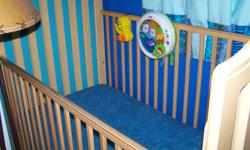 this is a very nice light colored crib that is able to turn down to a toddler bed it is in great shape.  i have a mattress that you can have with it or not.  asking $100 O.B.O