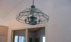 Suitable for kitchen or dining room with extra long chain. Contains 6 lights and spotlight.    Color: Green
