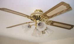 5 Blade Ceiling Fan. 3 speed (or rheostat graduated speed). With triple & centre lights. Excellent condition. Includes all mounting hardware and bulbs.