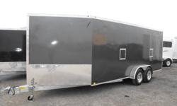 """Our new Lightning aluminum sled trailers have arrived! Built with superior T6 aluminum.   Standard features include:   7x18- 18+5' V nose 6'6"""" interior height radial tires w/aluminum rims radius cornered side door with RV lock finished white interior"""