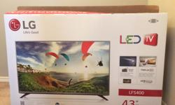 """Hi, I am selling a barely used LG 43"""" 1080p LED TV. I bought it last month, but recently decided I want a bigger TV. TV comes with all original accessories (remote, stand, power cable, and box). Asking for $350 OBO. Willing to trade for a larger LED TV (I"""