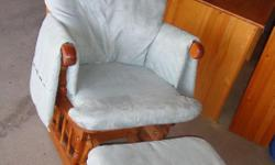 I have a Like New Light Grey Suede Glider Chair and Ottoman for sale! This is in excellent condition and would look great in your home or to give as a gift. Retails for $300 in stores so this is a great deal. Comes from a non-smoking household. Do not