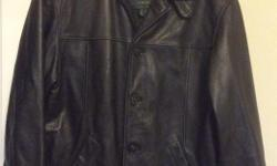 Men's black leather coat for sale. Purchased from Danier leather. It's like new, with hardly any signs of wear. Size small (US 34).