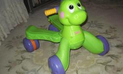 This Musical Fisher Price Dino Ride Stride is the perfect solution to encourage baby's physical development. This Dinosaur walk and ride toy has a large wheel base and sturdy handle that makes them a perfect choice for the baby's first steps. This Kids