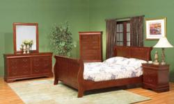 8 Pcs Bedroom Set INCLUDES: - Headboard (queen size) - Footboard (queen size) - Side rails - 2 Night Tables - Chest - Dresser - Mirror Variety of colours available: Cherry, Walnut and Oak Sizes available: Queen and King* *King Size Bed is an additional