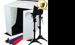 """LIMO PREMIUM PRO STUDIO TABLE TOP PHOTO STUDIO 24"""" x 24"""" SOFT TENT KIT WITH 1200-1300 LUMENS CONTINUOUS LED LIGHTS -- lightly used. White backdrop is missing. (1) x High Quality Photo Studio Light Box Size : 24"""" x 24"""" x 24"""" Made of High Quality Fabric"""