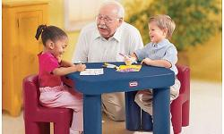 Made of durable plastic and is easy to keep clean. Big Table and Chair Set great for a project. Includes 2 chairs and 2 drawers This larger table includes two roomy drawers hold notebook paper, markers and other supplies