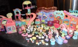 Multiple Littlest Pet Shop animals, holders and playsets. -Little Lovin' Playhouse -Get Better Centre -Purr-fection Salon and more Over 45 animals (these alone would be about $135) multiple holders All for just $60