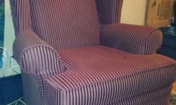 Burgundy striped living room chair, really comfy in decent condition comes from a home with dogs. You come pick up please