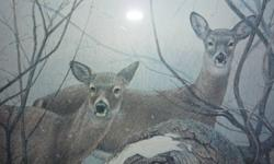 """SELLING AT $75 EACH.  DONE IN ACRYLIC AND NICELY FRAMED. CERTIFICATE OF AUTHENTICITY WITH EACH. MARCH FLURRIES IS A  1986 PRINT OF DEER  (49/790)  AND MEASURES 40""""BY 24"""".  WINGING WESTWARD IS A 1987 PRINT OF CANADA GEESE. (573/790) IT MEASURES 43"""" BY 25""""."""