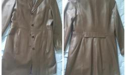 Hello! I have a beautiful long leather(Danier) coat for sale! Uk size (12 -14), mid length, rich dark brown in colour. The coat is in EXCELLENT condition. Worn once but I decided to sell because it is not really my size. **PRICE IS NEGOTIABLE. PICK UP