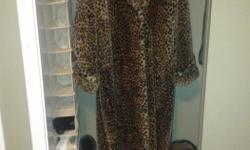 Long overcoat faux leopard print fur coat woman with hood hardly worn from Monterey Fashion. Excellent condition.