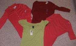 4 beautiful shirts. 3 of them are brand new! Green shirt is Gap, left pink is J Crew, Red one is Gap, and pink one on right is gently used and Gap.  All Medium. The new ones would make great gifts!! Paid 16.99 + tax for 1 shirt alone, asking $15 for all