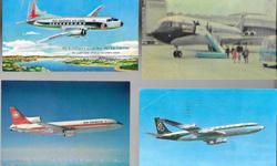 Lot of 8 Airplane postcards 1960s - 1970s with lots of great color images from across Canada and the USA. 4 of the 8 postcards are unused, and most of these are in protective plastic sleeves. Includes: Air Canada L1011, Montreal Airport, Amsterdam